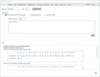Screenshot 1 de Network Tools Collection UWP - TCP UDP HTTP WebSocket DNS Whois para windows