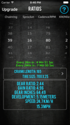 Captura de Pantalla 1 de Bike Gear Calculator GearRatio para iphone