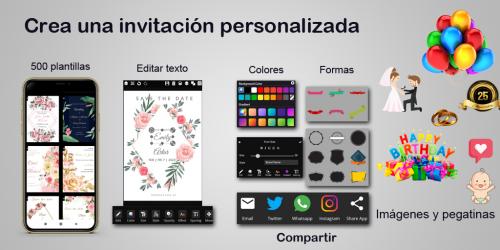 Captura de Pantalla 9 de Crear invitaciones 2020 cumpleaños, boda, tarjetas para android