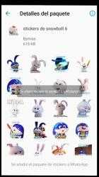 Imágen 4 de Stickers de conejo Snowball para WhatsApp para android