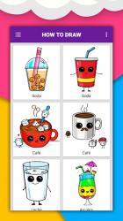 Screenshot 6 de Cómo dibujar comida linda, bebidas paso a paso para android