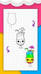 Captura de Pantalla 9 de Cómo dibujar comida linda, bebidas paso a paso para android