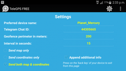 Captura 5 de GPS To Telegram Locator (FREE) para android